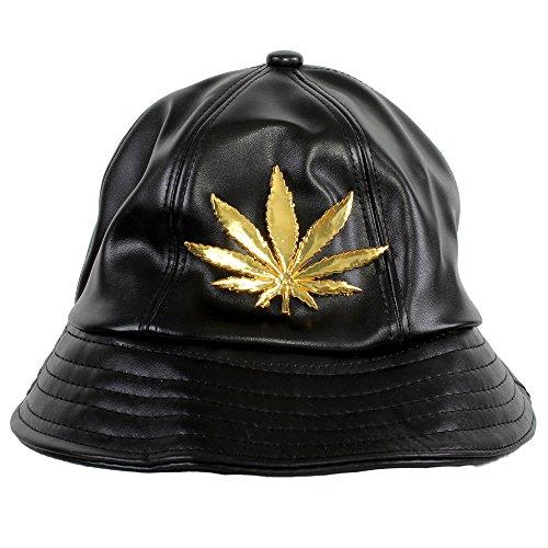Hip Hop Caps Simili Cuir Kush Feuille Seau Chapeau Noir - Noir - Taille Unique