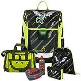 DRAGON - Drachen - Baggymax TRIKKY Leicht-Schulranzen Set 6tlg. Hama mit SCHULSPORTTASCHE, BROTDOSE und TRINKFLASCHE - Gewicht: 650g