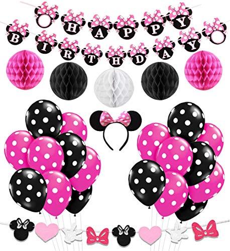 KREATWOW Minnie Mouse Girls Geburtstag Party Dekoration, Minnie Mouse Stirnband, Alles Gute zum Geburtstag Banner, Schwarze Rose Red Balloons