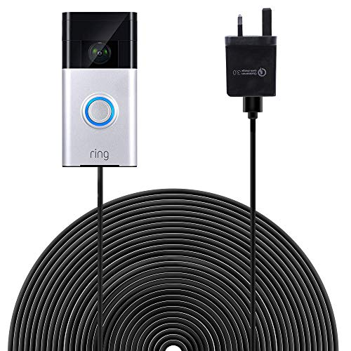 HOLACA Power Supply 20 ft(6 m) Charge Cable with DC Power Adapter Compatible with Ring Video Doorbell, Continuously Charging,No Need to Change The Batteries,Safe Power Supply (Ring Video Doorbell)