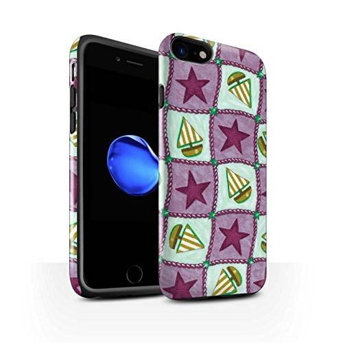 STUFF4 Glanz Harten Stoßfest Hülle / Case für Apple iPhone 8 / Lila/Grün Muster / Boote und Sterne Kollektion Violett/Grün