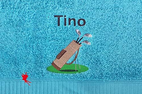 Golf Handtuch bestickt mit Motiv und Name Golfbag