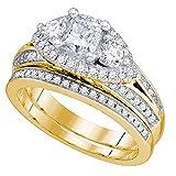 Anillo de compromiso de oro amarillo de 14 K con...
