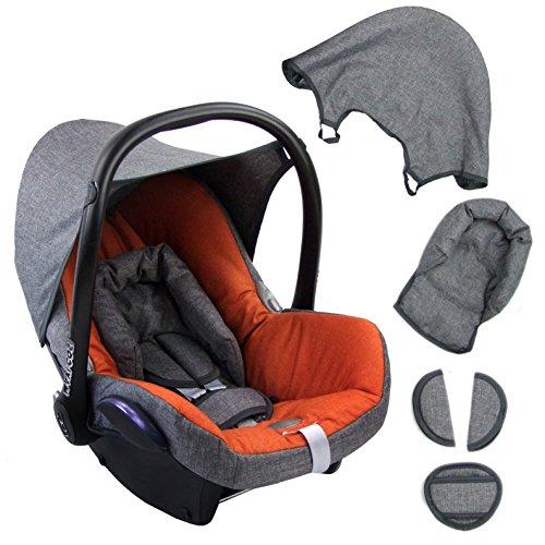 BAMBINIWELT Ersatzbezug für Maxi-Cosi CabrioFix 6-tlg. GRAU/ORANGE, Bezug für Babyschale, Komplett-Set