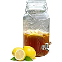 Ponera Fuente de Bebida–Dispensador con Tarro de Cristal Vintage, Cierre de Acero Inoxidable y Grifo Plateado–Barbacoa Aniversario Boda–28x 14x 14cm–4L