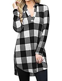 5670f4cc6ad TIMEMEANS Mode col Mao Manches Longues pour Chemise Robe Lin Femme Grande  Taille Chemise a Carreaux