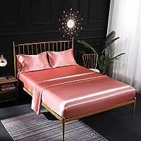 Parure de lit en satin de soie crème 4 pièces avec drap-housse en satin, drap plat, taie d'oreiller respirante, douce et…