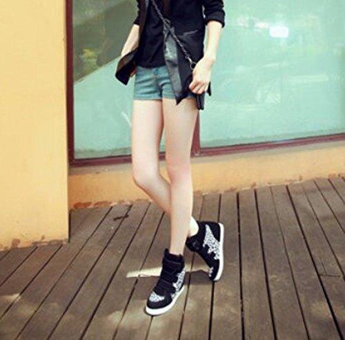 ba114f6073 ... Padgene Baskets Mode Compensées Scratch Suede Nylon Sneakers Hautes  Chaussures de ville Leopard Femme noir léopard ...
