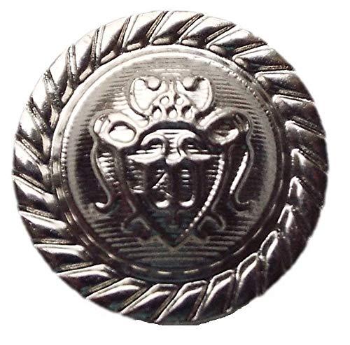 Großhandel für Schneiderbedarf 5 Wappen Knöpfe Silber 23 mm - Wappen-knöpfe