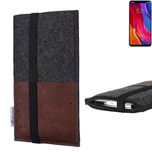 flat.design Handy Hülle Sintra für Xiaomi Mi8 Youth Handytasche Filz Tasche Schutz Kartenfach Case braun Kork