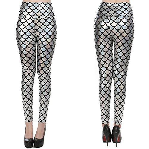 Pantalon Femmes Taille Haute Aptitude Yoga Pantalon Sport Imprimé Écaille Poisson Étendue Leggings Sport Course Exercices Yying Argent