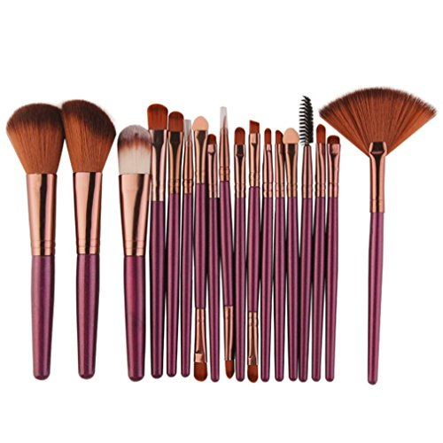 ESAILQ Nouveau 18 pcs Maquillage Set de brosse Make-up Kit de toilette Ensemble de brosse à maquillage en laine(Violet )