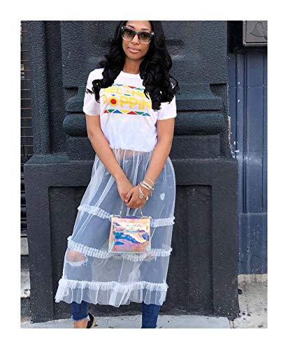 FJLOKE& Women Short Sleeves Letter Print Cute Casual mesh Patchwork Long Party Dress White XXL
