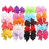 TinkSky Ribbon Bows with Alligator Clips -- 20 Different Bows in 15 Solid Colors and 5 Polka-dot Patterns