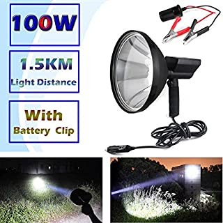 AutoFu Hunting Flashlights 1.5KM Long Distance Handheld Spotlight Foxing Shooting Lamp Car 12V Cigarette Portable HID Searchlight 100W 6000K 8000LM Super Bright
