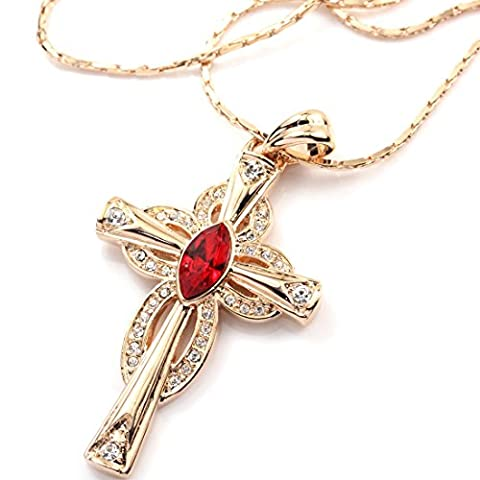 Colorfulday Rose Gold Plated Red Cubic Zirconia Crystal Cross Pendant Unisex Necklace