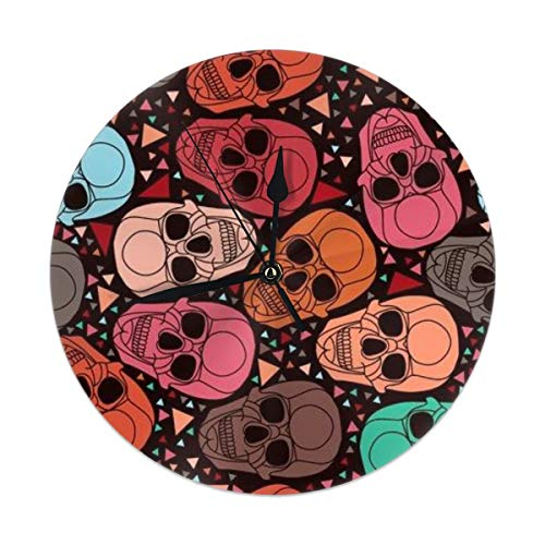9.8 Inch Round Wall Clock,Skull with Geometric Polygonal Ornament Silent Non Ticking Decorative Clocks for Kitchen, Living Room, Bedroom, Office (Kit Cat Clock-pink)