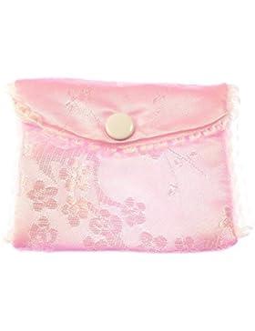 Rosa stoff bestickt rosenkranz handtasche tasche kopf ohrstecker verschluss 8cm silky