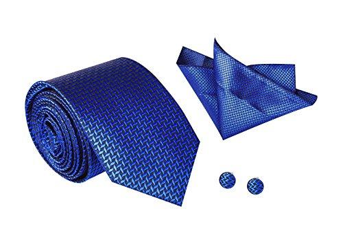 Herren Hochwertiges Krawatten Set Schmale Krawatte mit Einstecktuch und Manschettenknöpfe für Geschäft Hochzeit Feierlicher Anlass - Edel und Schick - Blau