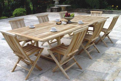 XXS® Möbel Gartenmöbel Set Caracas 9tlg acht praktische Klappstühle Menorca und ein Tisch Kuba ausziehbar hochwertiges Teak Holz sehr pflegeleicht