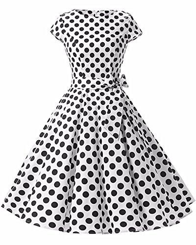 GIKING Robe de Femme Robe de soirée Cocktail Vintage Hepburn Robes de Demoiselle d'honneur Robe de soirée balançoire des années 1950 Blanche XXL