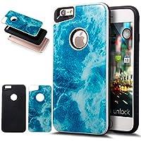 iPhone 6S Plus funda, iPhone 6Plus caso, ikasus Slim doble capa protectora caso mármol 2en 1Híbrido Carcasa rígida y suave silicona Carcasa de TPU para iPhone 6S/6Plus 5.5