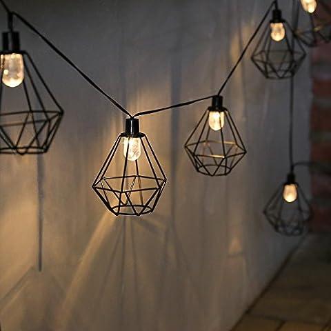 Guirlande Lumineuse Solaire Décorative 10 Lanternes Fil de Métal Noir