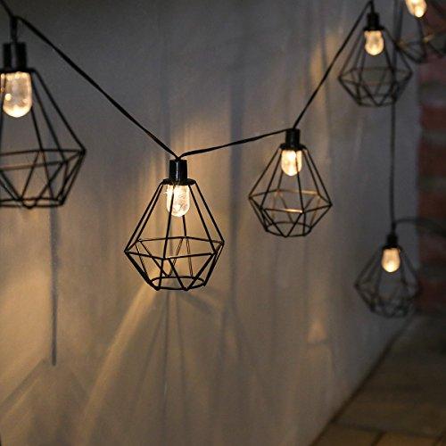 Guirlande Lumineuse Solaire Décorative 10 Lanternes Fil de Métal Noir Style Industriel à LED sur Câble Noir (Pile Rechargeable incluse) Waterproof - 2,80 Mètres