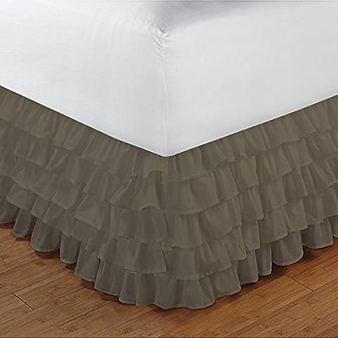 1000TC 100% cotone egiziano di alta qualità elegante finitura 1pcs multi Ruffle Giroletto A Goccia (lunghezza: 27cm), Cotone, Taupe Solid, Euro_Double_Ikea