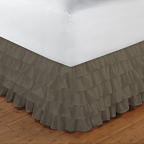 500TC 100% cotone egiziano, finitura elegante 1PCS multi Ruffle Bedskirt Solid (Drop length: 35,6cm), Cotone, Sage Solid, Euro_Super_King_Extra_Long Taupe Solid
