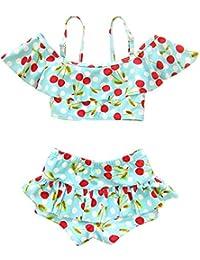 Moollyfox Bikini Niñas Traje de Baño de Dos Piezas Bañador Agradable Tankini Conjunto Infantil para 1 - 10 Años Cielo Azul S