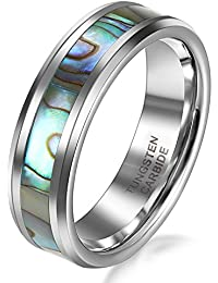 JewelryWe 6mm Comfort Fit High Polish Tungsten Ring with Abalone Shell Inlay Women's Engagement Wedding Band