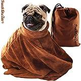 PoochOneZee der schnell trocken Beutel fuer Hunde - Das super saugfaehige mikrofaser Haustier Handtuch mit Reißverschluss und Hundepflege Klein