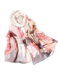 CCAILIS Mujer Moda Bufandas Idílico Sección Delgada Salvaje Bufanda Dama Tinta Loto Al Aire Libre Chal