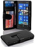 Cadorabo - Book Style Hülle für Nokia Lumia 920 - Case Cover Schutzhülle Etui mit 3 Kartenfächern in OXID-SCHWARZ