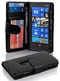 Cadorabo Hülle für Nokia Lumia 920 - Hülle in OXID SCHWARZ – Handyhülle mit 3 Kartenfächern - Case Cover Schutzhülle Etui Tasche Book Klapp Style