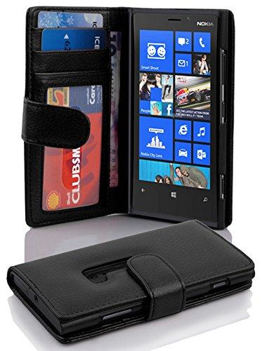 Nokia Lumia 920 Hülle in SCHWARZ von Cadorabo - Handyhülle Handyhülle mit 3 Kartenfächer Case Cover Schutzhülle Etui Tasche Book Klapp Style in OXID SCHWARZ Nokia Lumia 920 Hülle Case