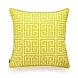 hofdeco Dekorative Kissenhülle Indoor Outdoor wasserabweisendem Segeltuch Vibrant Yellow Nordic Geometrische 45x 45cm Abmessungen 30x 50cm, Polyester-Mischgewebe, Greek Key 18