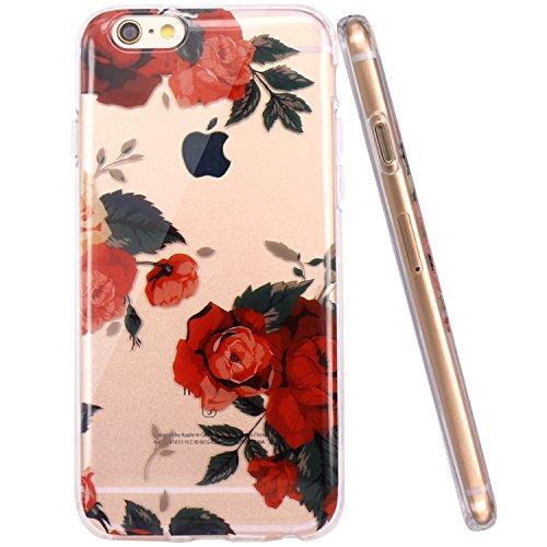 Coque iPhone 6, Coque iPhone 6S, JIAXIUFEN TPU Coque pour Apple iPhone 6 6S Silicone Étui Housse Protecteur - Red Rose