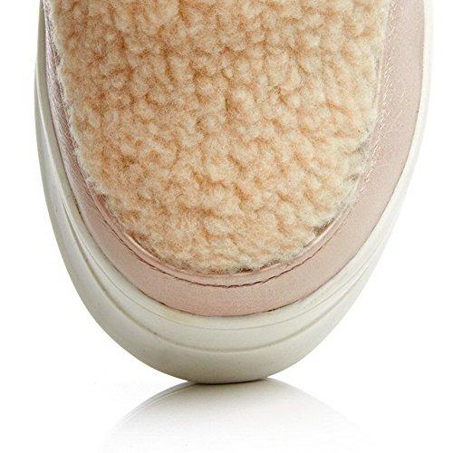 AllhqFashion Damen Mittler Absatz Gemischte Farbe Rund Zehe Ziehen Auf Stiefel Pink