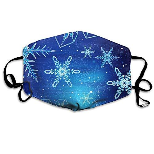 Louis Berry Staubmaske, wiederverwendbar, für Damen und Herren, blaue Schneeflocken, Hintergrund, Mundmaske, Unisex