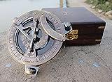 Sonnenuhr Kompass Messing Sunwatch mit Holzbox Nautisches Geschenk