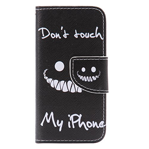 CaseHome iPhone SE/5S/5 Mode Elegant PU-Leder Etui (Mit freiem HD Schirm-Schutz) Bunt Stilvoll Stand-Funktion Geprägtes Muster Gedruckt Entwurf Stoßfest Anti-Rutsch PU-Leder Fall Abdeckung Schale Haut Lächeln(don't touch my phone)