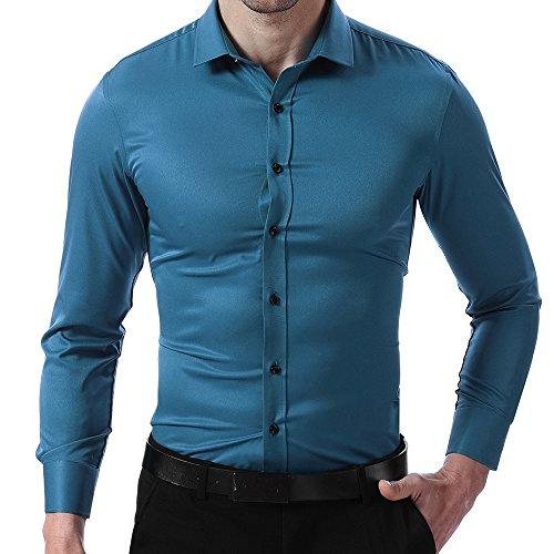 Camicia elastica da uomo, manica lunga, slim fit, camicia classica casual/formale per uomo, turchese, 39 (manica 94cm, petto 100cm)
