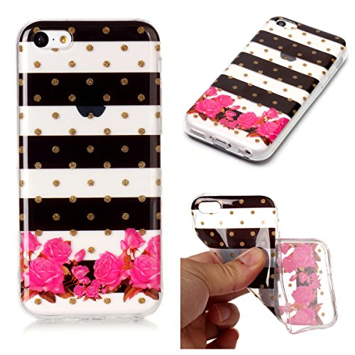 Cover iPhone 5/5S/SE, GrandEver Morbida Trasparente Ultra Slim Gel Silicone TPU Custodia Protettiva Back Shell Case per iPhone 5/5S/SE - Donuts Fiore 3