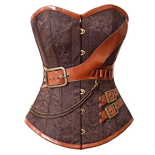 Lisansang Womens Steampunk Kleid für die Taille Bustier mit Schnallen Korsett Schnürung Plus Größe (Color : Brown, Size : M)