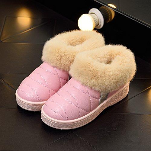 DogHaccd pantofole,Inverno pelle pu di spessore, antiscivolo soggiorno impermeabile home scarpe di cotone uomini e donne paio di pantofole di cotone confezione con scarpe di peluche Rosa2