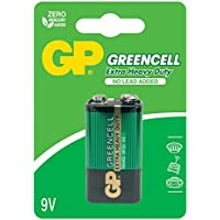 GP Greencell Extra Heavy Duty 9V Square Batería Con No Cable Added