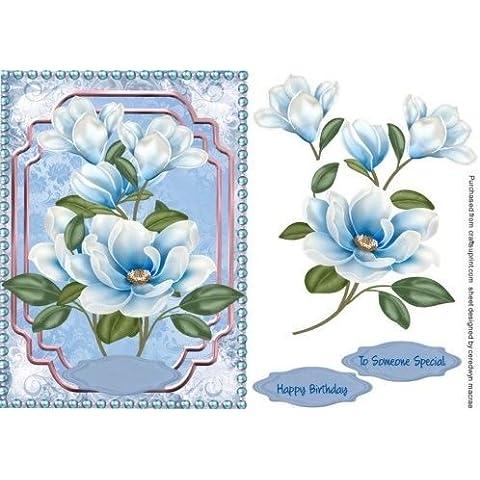 Hermoso color azul magnolias con perlas, Por Macrae Ceredwyn