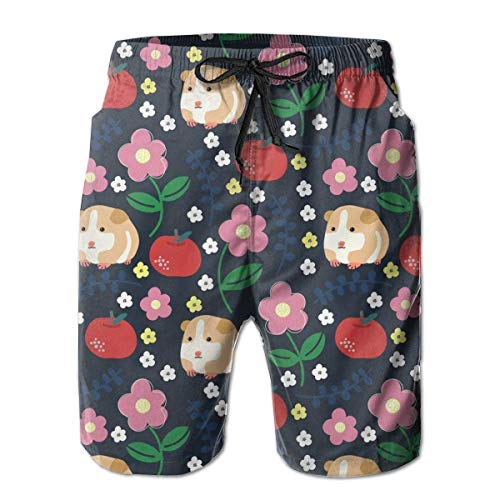 Mens Cauasl Beach Shorts schnell trocknend Tunnelzug leicht mit Taschen (Meerschweinchen und Äpfel) -